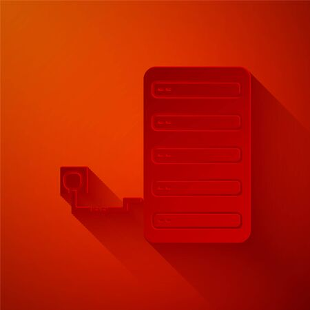 Paper cut Server icon isolated on red background. Adjusting app, service concept, setting options, maintenance, repair, fixing. Paper art style. Vector Illustration