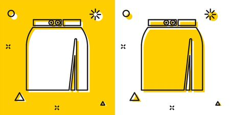 Black Skirt icon isolated on yellow and white background. Random dynamic shapes. Vector Illustration Vektorové ilustrace