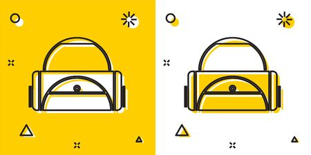 Black Sport bag icon isolated on yellow and white background. Random dynamic shapes. Vector Illustration