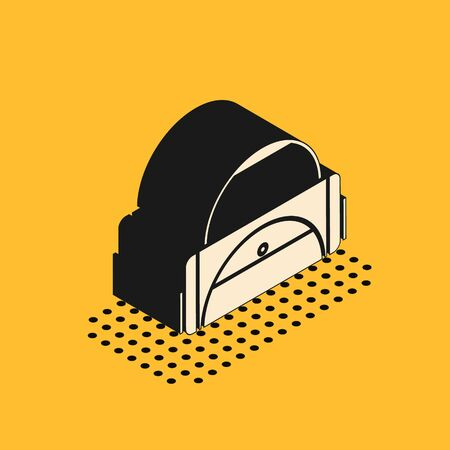 Isometric Sport bag icon isolated on yellow background. Vector Illustration Vettoriali