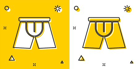 Black Men underpants icon isolated on yellow and white background. Man underwear. Random dynamic shapes. Vector Illustration