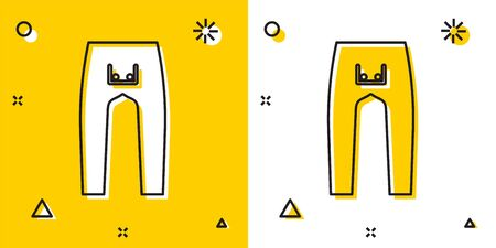 Black Pants icon isolated on yellow and white background. Random dynamic shapes. Vector Illustration
