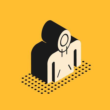 Isometric Hoodie icon isolated on yellow background. Hooded sweatshirt. Vector Illustration