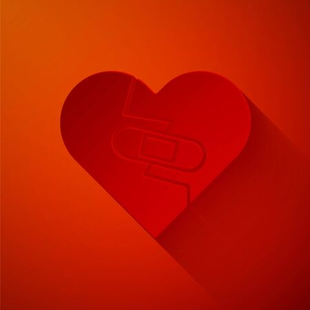 Paper cut Healed broken heart or divorce icon isolated on red background. Shattered and patched heart. Love symbol. Valentines day. Paper art style. Vector Illustration Ilustração