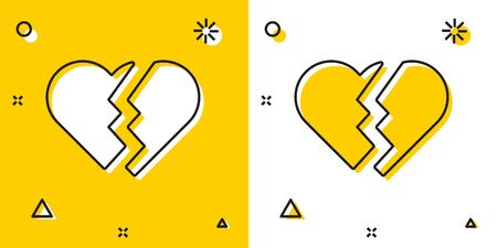 Black Broken heart or divorce icon isolated on yellow and white background. Love symbol. Valentines day. Random dynamic shapes. Vector Illustration