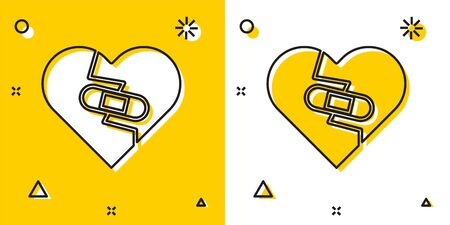 Black Healed broken heart or divorce icon isolated on yellow and white background. Shattered and patched heart. Love symbol. Valentines day. Random dynamic shapes. Vector Illustration