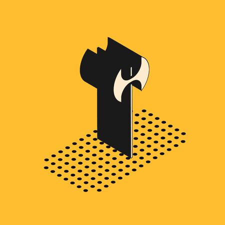 Isometric Medieval axe icon isolated on yellow background. Battle axe, executioner axe. Medieval weapon. Vector Illustration