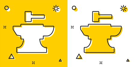 Black Anvil for blacksmithing and hammer icon isolated on yellow and white background. Metal forging. Forge tool. Random dynamic shapes. Vector Illustration