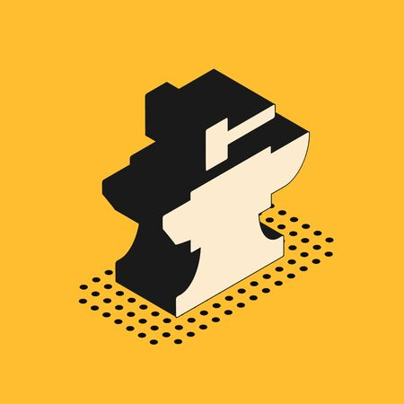 Isometric Anvil for blacksmithing and hammer icon isolated on yellow background. Metal forging. Forge tool. Vector Illustration
