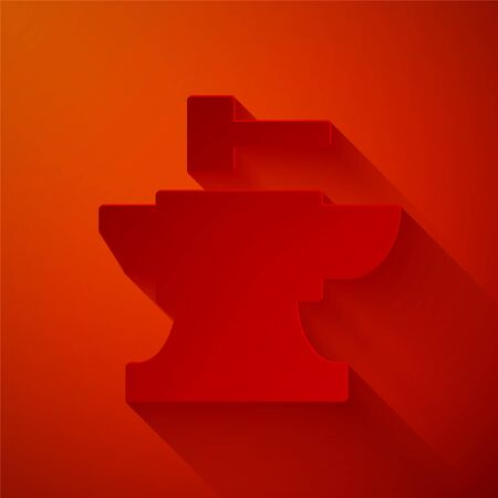 Paper cut Anvil for blacksmithing and hammer icon isolated on red background. Metal forging. Forge tool. Paper art style. Vector Illustration Ilustracja