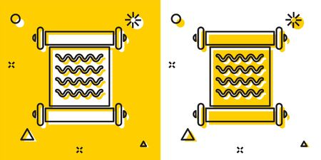 Black Decree, paper, parchment, scroll icon icon isolated on yellow and white background. Random dynamic shapes. Vector Illustration
