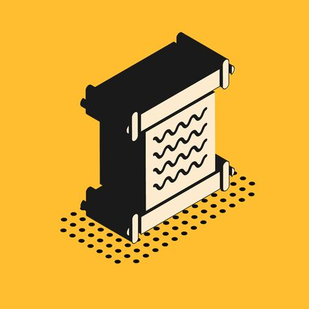 Isometric Decree, paper, parchment, scroll icon icon isolated on yellow background. Vector Illustration