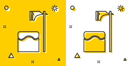 Black Executioner axe in tree block icon isolated on yellow and white background. Hangman, torturer, executor, tormentor, butcher, headsman. Random dynamic shapes. Vector Illustration Illustration
