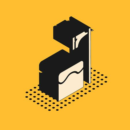 Isometric Executioner axe in tree block icon isolated on yellow background. Hangman, torturer, executor, tormentor, butcher, headsman. Vector Illustration