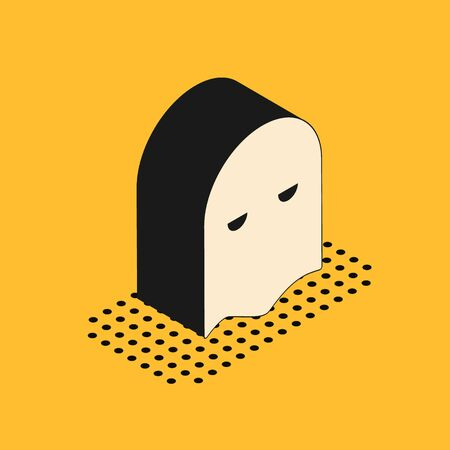 Isometric Executioner mask icon isolated on yellow background. Hangman, torturer, executor, tormentor, butcher, headsman icon. Vector Illustration Stock Illustratie