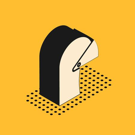 Isometric Medieval iron helmet for head protection icon isolated on yellow background. Vector Illustration Archivio Fotografico - 138966864