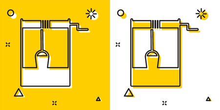 Schwarzer Brunnen mit einem Eimer- und Trinkwassersymbol lokalisiert auf gelbem und weißem Hintergrund. Zufällige dynamische Formen. Vektorillustration
