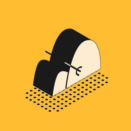 Isometric Bale of hay and rake icon isolated on yellow background. Vector Illustration Illusztráció