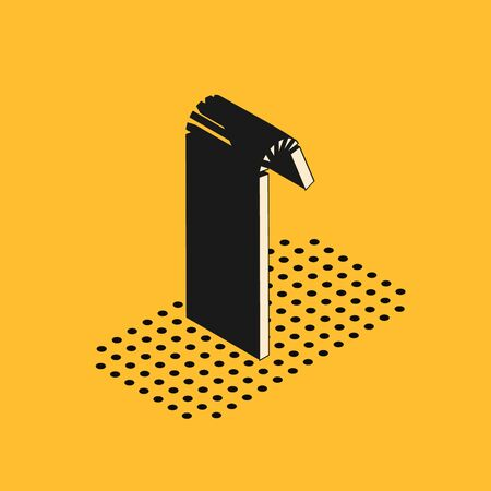 Isometric Drinking plastic straw icon isolated on yellow background. Vector Illustration