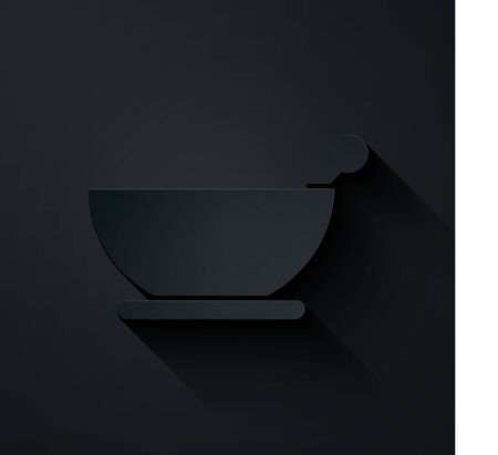 Paper cut Mortar and pestle icon isolated on black background. Paper art style. Vector Illustration