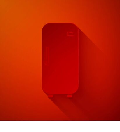 Paper cut Refrigerator icon isolated on red background. Fridge freezer refrigerator. Household tech and appliances. Paper art style. Vector Illustration