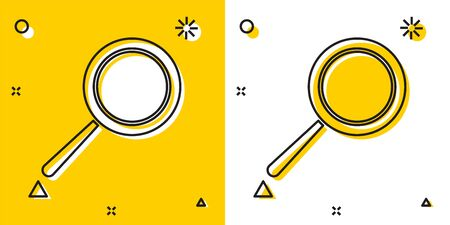 Black Frying pan icon isolated on yellow and white background. Fry or roast food symbol. Random dynamic shapes. Vector Illustration Illustration