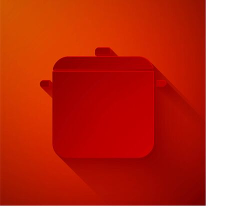 Paper cut Cooking pot icon isolated on red background. Boil or stew food symbol. Paper art style. Vector Illustration
