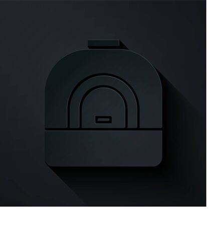 Paper cut Oven icon isolated on black background. Stove gas oven sign. Paper art style. Vector Illustration
