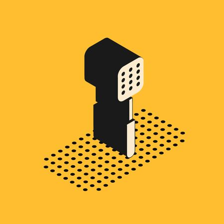 Isometric Spatula icon isolated on yellow background. Kitchen spatula icon. BBQ spatula sign. Barbecue and grill tool. Vector Illustration Ilustração