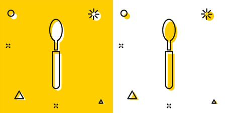 Black Spoon icon isolated on yellow and white background. Cooking utensil. Cutlery sign. Random dynamic shapes. Vector Illustration