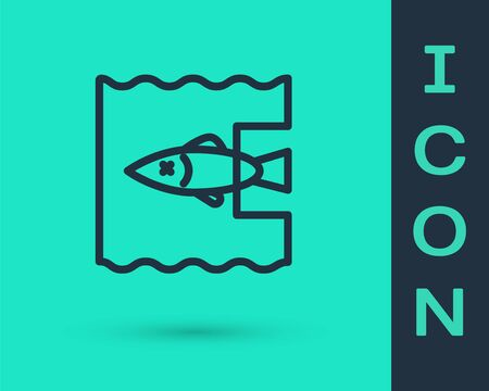 Black line Stop ocean plastic pollution icon isolated on green background. Environment protection concept. Fish say no to plastic. Vector Illustration