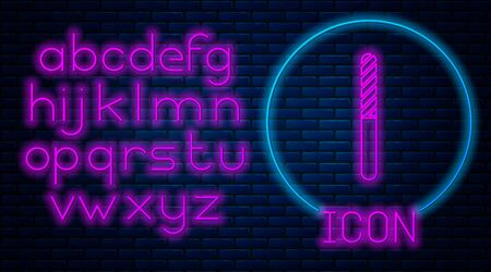 Glowing neon Nail file icon isolated on brick wall background. Manicure tool. Neon light alphabet. Vector Illustration