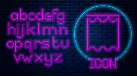 Glowing neon Curtains icon isolated on brick wall background. Neon light alphabet. Vector Illustration