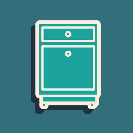 Green Furniture nightstand icon isolated on blue background. Long shadow style. Vector Illustration Stock Illustratie