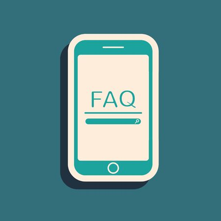 Grünes Handy mit Text FAQ Informationssymbol auf blauem Hintergrund isoliert. Häufig gestellte Fragen. Lange Schattenart. Vektorillustration