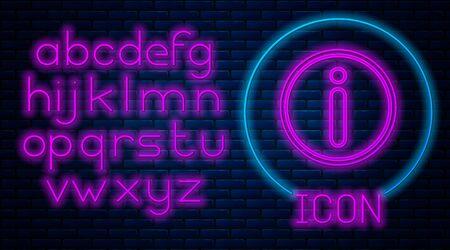Glowing neon Information icon isolated on brick wall background. Neon light alphabet. Vector Illustration Vektorgrafik