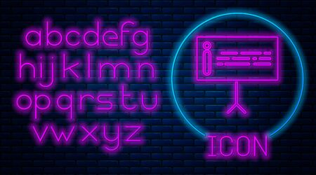 Glowing neon Information icon isolated on brick wall background. Neon light alphabet. Vector Illustration