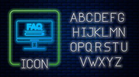 Glowing neon Computer monitor with text FAQ information icon isolated on brick wall background. Frequently asked questions. Neon light alphabet. Vector Illustration  イラスト・ベクター素材