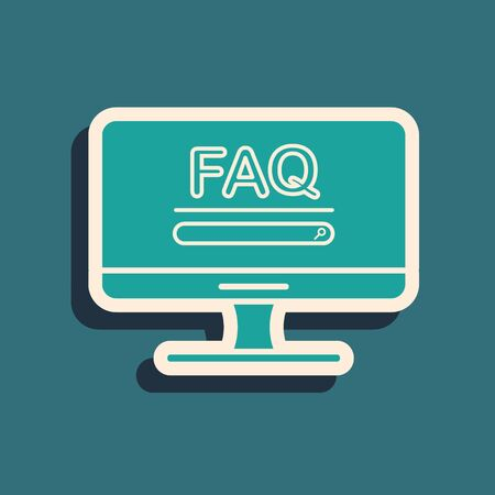 Green Computer monitor with text FAQ information icon isolated on blue background. Frequently asked questions. Long shadow style. Vector Illustration