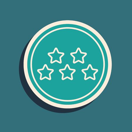 Green Five stars customer product rating review icon isolated on blue background. Favorite, best rating, award symbol. Long shadow style. Vector Illustration