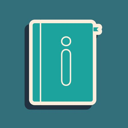 Green User manual icon isolated on blue background. User guide book. Instruction sign. Read before use. Long shadow style. Vector Illustration Illustration