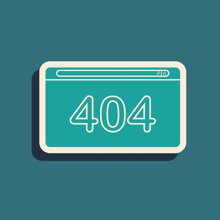 Green Page with a 404 error icon isolated on blue background. Template reports that the page is not found. Long shadow style. Vector Illustration