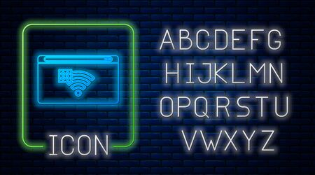 Glowing neon No Internet connection icon isolated on brick wall background. No wireless wifi or sign for remote internet access. Neon light alphabet. Vector Illustration