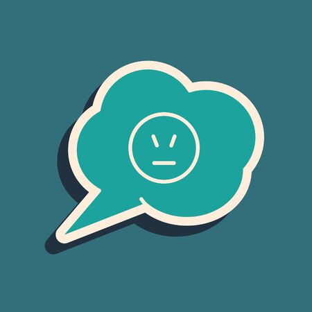 Green Speech bubble with angry smile icon isolated on blue background. Emoticon face. Long shadow style. Vector Illustration