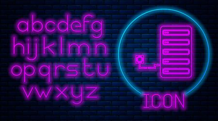 Glowing neon Server icon isolated on brick wall background. Adjusting app, service concept, setting options, maintenance, repair, fixing. Neon light alphabet. Vector Illustration