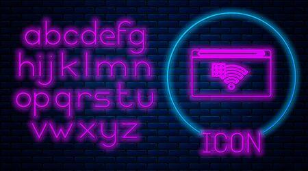Néon lumineux Aucune icône de connexion Internet isolée sur fond de mur de briques. Pas de wifi sans fil ni de signe pour un accès Internet à distance. Alphabet néon. Illustration vectorielle