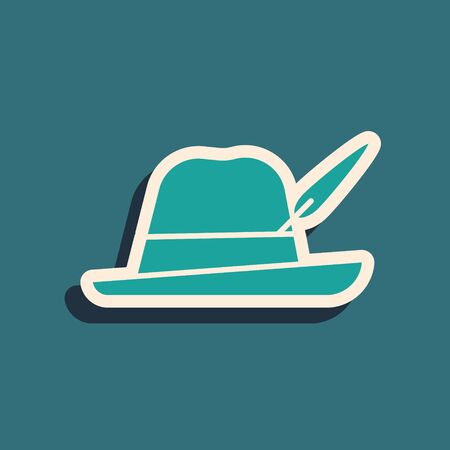Green Oktoberfest hat icon isolated on blue background. Hunter hat with feather. German hat. Long shadow style. Vector Illustration