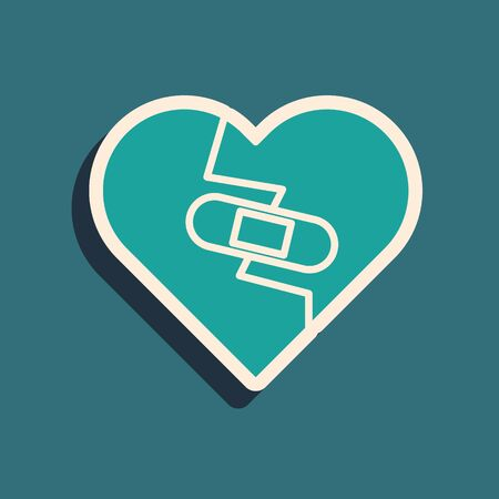 Green Healed broken heart or divorce icon isolated on blue background. Shattered and patched heart. Love symbol. Valentines day. Long shadow style. Vector Illustration