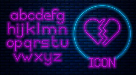 Glowing neon Broken heart or divorce icon isolated on brick wall background. Love symbol. Valentines day. Neon light alphabet. Vector Illustration
