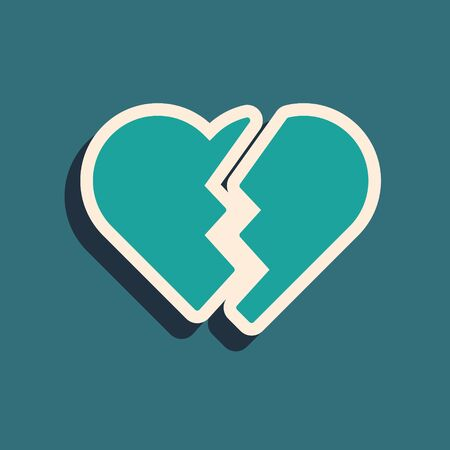 Green Broken heart or divorce icon isolated on blue background. Love symbol. Valentines day. Long shadow style. Vector Illustration